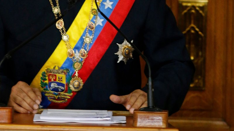 Nicolas Maduro devant l'Assemblée constituante, jeudi.