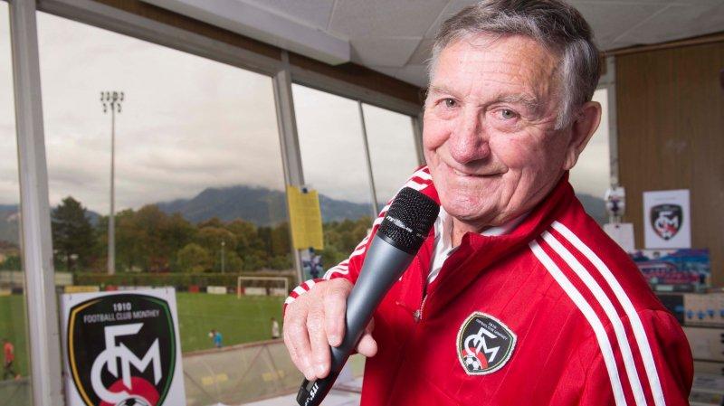 Dans sa loge qui surplombe le stade Philippe-Pottier, Marius Mignot ne manque pas une miette des matchs de «son» FC Monthey.