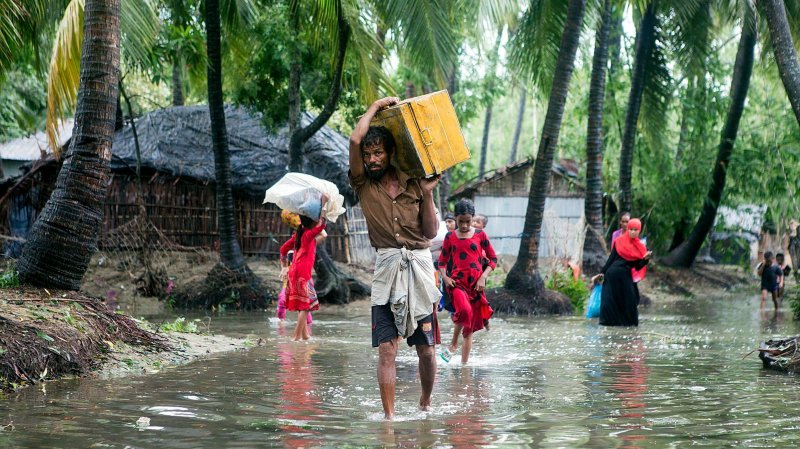 Neuf des dix pays aux habitations les plus vulnérables sont  en Asie. Ici, le Bangladesh.