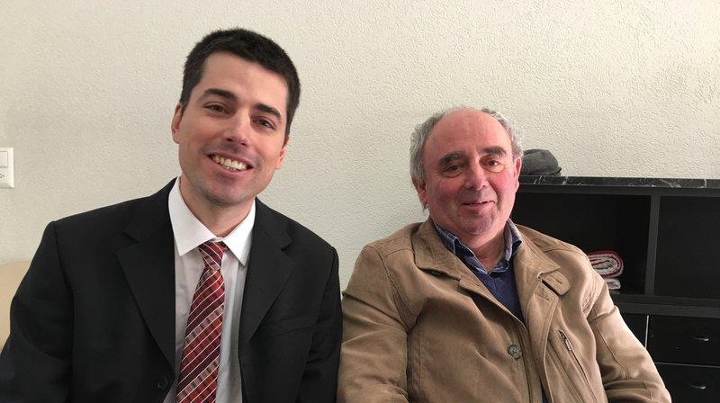 Blaise Melly et Albert Pitteloud mercredi matin à Sion en conférence de presse.