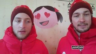 Ces Valaisans aux JO 2018: Luca Aerni et Justin Murisier soufflent un peu à la Maison Suisse de PyeongChang avant le slalom géant