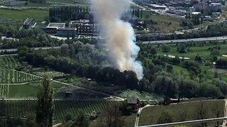 Incendie sur la digue de la Borgne