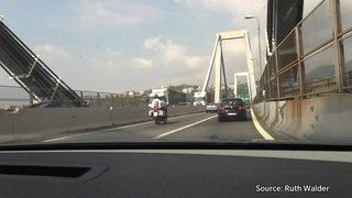 Italie - Gênes: traversée du pont Morandi en 2012