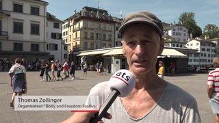 Performance artistique avec des nus à Zurich