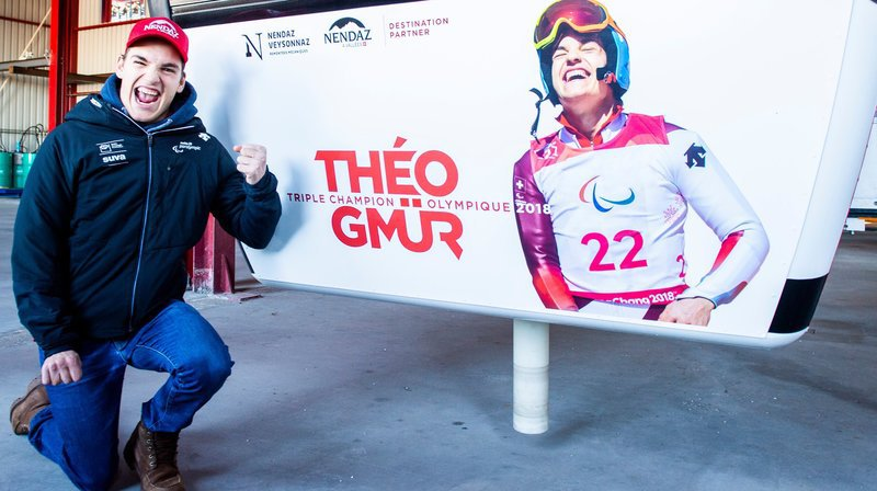 Le skieur Théo Gmür a inauguré une cabine à son nom à Nendaz