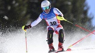 Christophe Torrent au pied du podium du combiné des Nationaux juniors