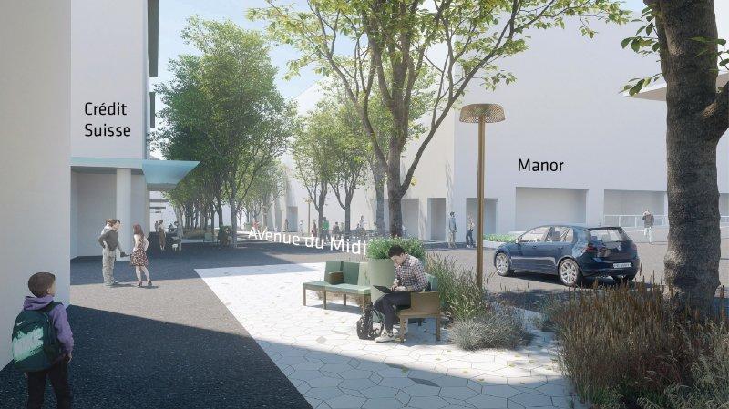 Le réaménagement de l'Avenue du midi prévoit la disparition des marquages au sol, l'installation de mobilier urbain végétalisé et l'expansion des terrasses.