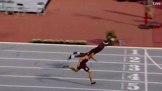 Athlétisme: il plonge sur la ligne d'arrivée et remporte la médaille d'or du 400m haies