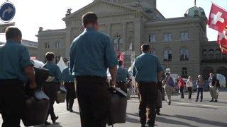 Les paysans débarquent sur la Place fédérale