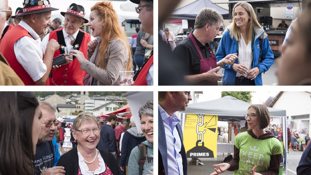 Valentina Darbellay (PDC), Sylvie Luginbühl (PLR), Martine Jeanbourquin (UDC) et Céline Lugon (les Verts) étaient en campagne à Fully.