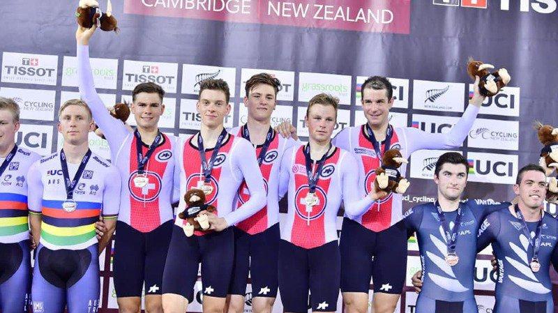Cyclisme: les poursuiteurs suisses s'imposent en Coupe du monde et explosent le record national
